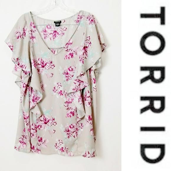 TORRID Womens Short Sleeve Gray Pattern Blouse 3X